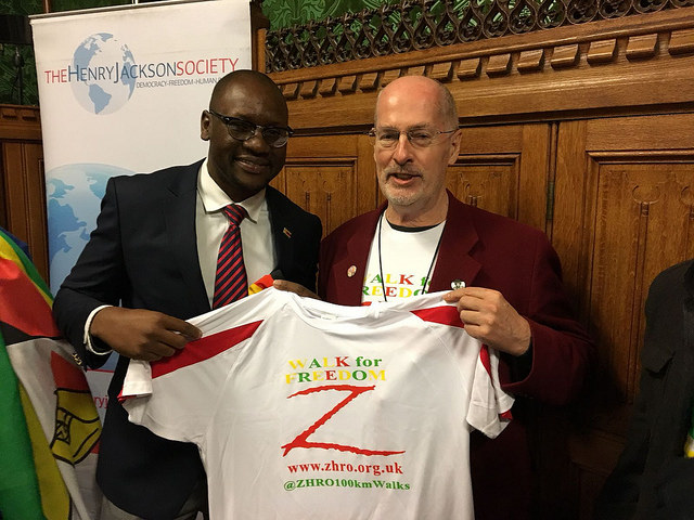 Walk for Freedom shirt presented to Pastor Evan Mawarire
